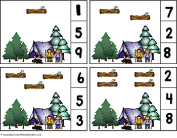 Going Camping Counting Clothes Pin Cards
