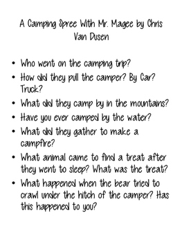 Going Camping Stories Discussion Questions