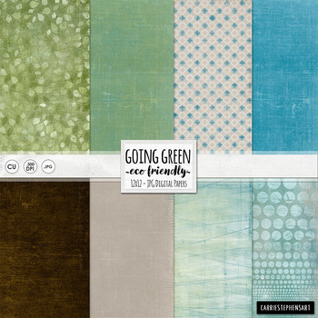 Going Green Digital Papers, Earth Day Backgrounds