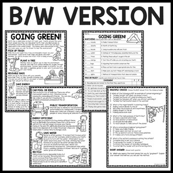 going green reading comprehension worksheet recycle reduce reuse earth day. Black Bedroom Furniture Sets. Home Design Ideas