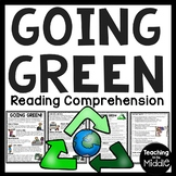 Going Green Reading Comprehension Worksheet Recycling and Earth Day