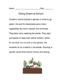 Going Green at School Mini-Story with Questions