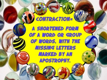 Going Marbles Over Word Play! CONTRACTIONS 10 PRINT & GO NO PREP Bonus Poster +