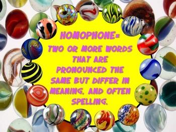 Going Marbles Over Word Play! HOMOPHONES 10 PRINT & GO NO PREP Bonus Poster +