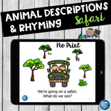 No Print Speech Therapy    Descriptions and Rhyming   Teletherapy
