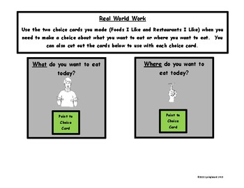 Going Out to Eat: Adapted Work Packet with Visuals