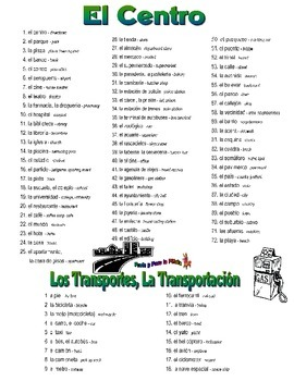 El Centro Going Places and Travel Spanish Vocabulary Collection