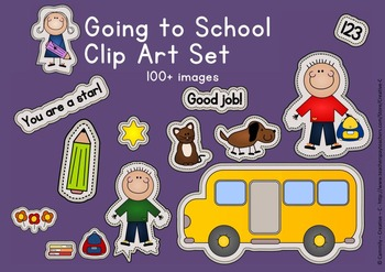 Going back to school clip art graphics sticker  set - comm