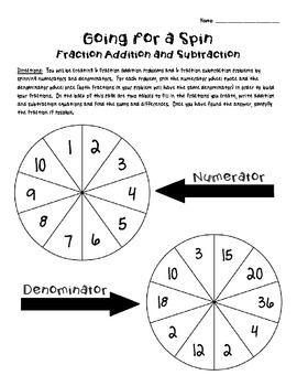 Going for a Spin (fraction addition and subtraction - with like denominators)