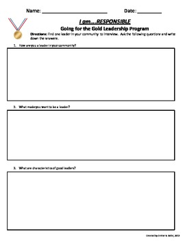 Going for the Gold Leadership Program Outlines, Activities, & Printables