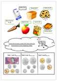 Going shopping-Counting money worksheet