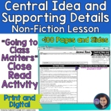 """Central Idea and Supporting Details in Non-Fiction: """"Going to Class Matters!?!"""""""