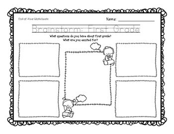 Going to First Grade! Kinder End-of-Year Worksheet FREE