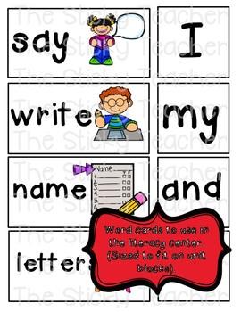 Going to Kindergarten Emergent Reader and word cards