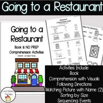 Going to a Restaurant - Book and NO PREP Comprehenion