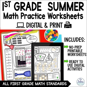 End of the Year First Grade Summer Packet Review CC & TEKS Aligned