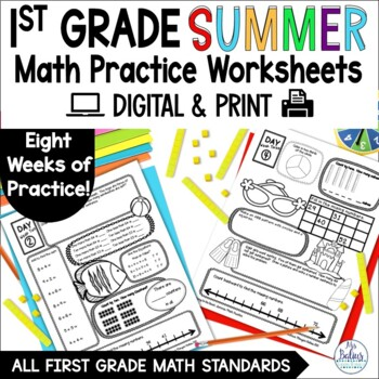 Summer Practice First Grade Math End of the Year CC & TEKS Aligned