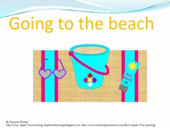 Going to the Beach cloze sentences with story