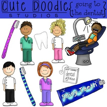 Going to the Dentist {COMBO} Digital Clip Art and Black Line Stamps