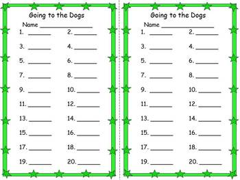 Going to the Dogs Word Problems 1.OA.A.1, 2.OA.A.1