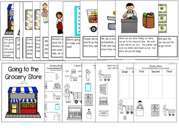 Going to the Grocery Store - Book and NO PREP Comprehension