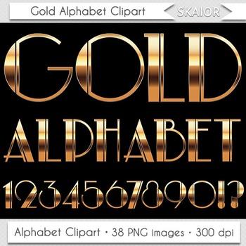Gold Alphabet Clipart Nouveau Letters Numbers Art Deco Christmas Alphabet Text