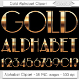 Gold Alphabet Clipart Nouveau Letters Numbers Art Deco Chr