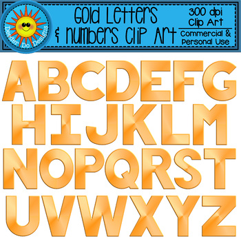 Gold Alphabet and Numbers Clip Art