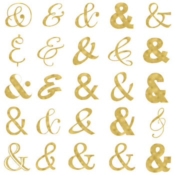 Gold Ampersand Clipart, Typography Elements, Gold Foil Clipart