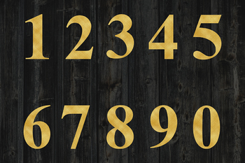 Gold And Floral Numbers Clipart, Gold Foil And Watercolor Flower Numbers