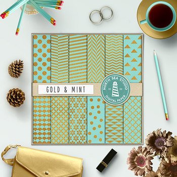Gold And Mint Digital Paper, Gold Foil Patterns