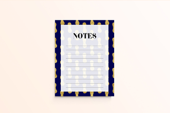 Gold And Navy Printable Notes Page