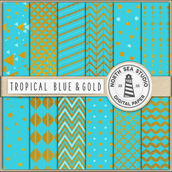 Gold And Tropical Blue Digital Paper, Gold Foil Patterns