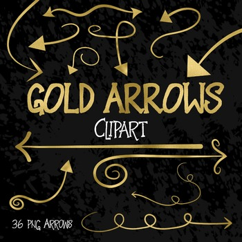 Gold Arrows Clip Art - 36 PNG Files
