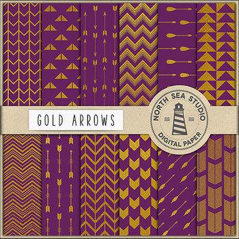 Gold Arrows Digital Paper Pack, Scrapbook Paper