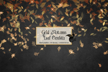 Gold Autumn Leaf Confetti, png overlay fall leaves clipart