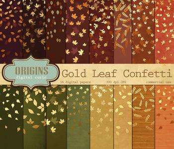 Gold Autumn Leaf Digital Scrapbook Paper Confetti Backgrounds