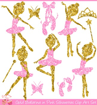 Gold Ballerina Silhouettes in Pink Clipart Set