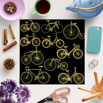 Gold Bikes Clipart - Old Retro Style