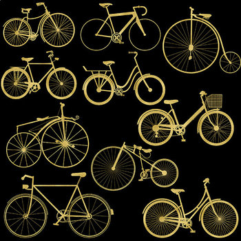 Gold Bikes Clipart - Old Retro Style, Gold Clipart