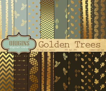 Gold Birch Trees, Forest Woodland Digital Paper Backgrounds