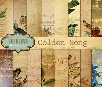 Gold Bird Song Music Digital Scrapbook Paper Backgrounds