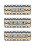 Gold/Black Chevron Subject Labels