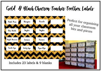 Gold & Black Chevron Teacher Toolbox Labels