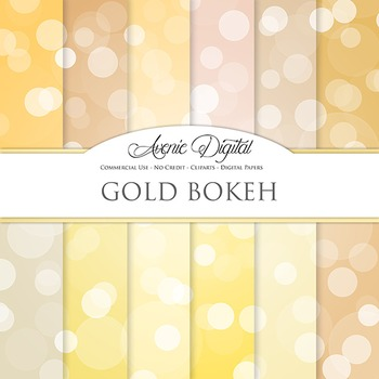 Gold Bokeh Digital Paper dots sparkle yellow light circles scrapbook backgrounds