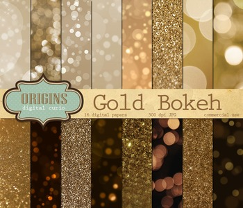Gold Bokeh Lights and Glitter Texture Digital Paper Backgrounds
