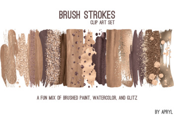 Gold Brown Brush Strokes Paint Glitter Foil Watercolor 20 PNG Clip Art 12in S7