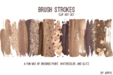 Gold Brown Brush Strokes Paint Glitter Foil Watercolor 20