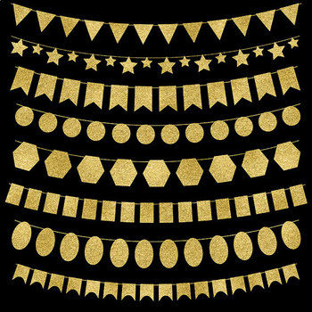 Gold Bunting Banners Clip Art {Pretty Graphics}