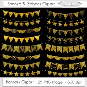 Gold Bunting Clipart Flags Doodle Bunting Clip Art Party Garland Clipart